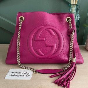 Gucci Chain Soho Tote Pink Fuchsia Medium Bag